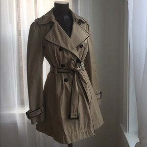 Vegan leather trimmed trench coat